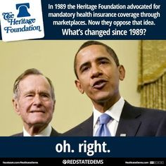 """In case you don't know """"the heritage foundation""""= the tea party. """"Mandatory health care through marketplaces""""= what is now called """"Obamacare. Caricatures, Troll, Progressive Liberal, Liberal Democrats, Heritage Foundation, Health Insurance Coverage, Right Wing, Republican Party"""