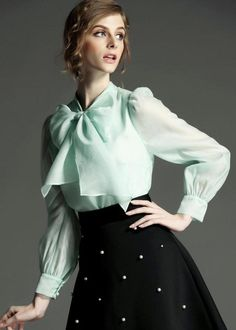 To find out about the With Bow Green Blouse at SHEIN, part of our latest Blouses ready to shop online today! Girls Blouse, Bow Blouse, Green Blouse, Sexy Bluse, Satin Saree, Fancy Tops, Cute Blouses, Beautiful Blouses, Business Outfits