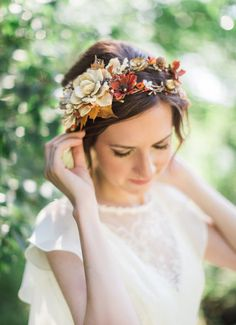 fall wedding hair pieces, fall flower crown, fall headpiece by The Honeycomb. In copper, orange, and cream tones.