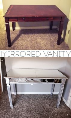 Before and After Mirrored Vanity Tutorial