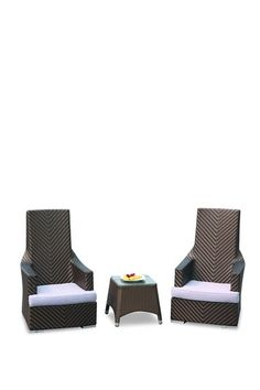 Elegant Hi-Back Chair with Table Set - Espresso Set of 3