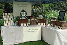 """Anne Moore Aldridge """"Art in the Gardens"""" Booth - I loke the vintage theme and how neat and professional it looks. Great branding."""