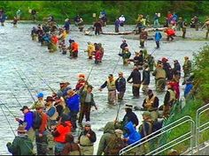 Combat fishing on the Kenai River, AK.  There are so many salmon during spawning season that people just throw their bare hooks in the water & catch a fish.   They are only allowed to fish in certain spots so everyone is crowded together to get in on the action.