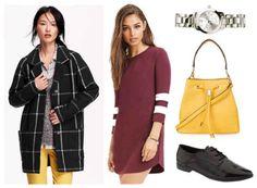 Varsity shirt dress, plaid coat,  watch, yellow bag, white shoes