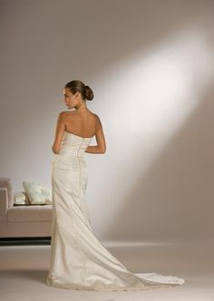 A Line Princess Strapless Chapel Train  wedding dress for brides 2010 Style(WDS0084)