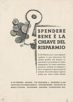 Progetto grafico di Carlo Dradi, (1908 - 1982), Attilio Rossi, (1909 - 1994).