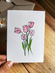 Tulip print blank greeting card from original watercolour painting. This greeting card is measured by with the inside left blank to write your own personal message. Cards come with recycled brown envelopes. Watercolor Cards, Watercolor Print, Watercolor Flowers, Watercolor Paintings, Watercolors, Watercolour Drawings, Tulip Drawing, Card Drawing, Mothers Day Drawings
