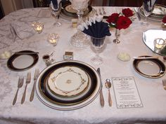 Hosted many Prom Dinners.  Makes it so much more comfortable for the kids.  Used school colors (royal blue, white).  Mixed antique china and silver with modern pieces, individual menus.   Photo by:  Barbie Longfellow-Ott