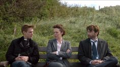Rory Williams, Prisoner Zero and The Doctor on the one bench.