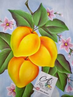 Pintura Fruit Painting, One Stroke Painting, Tole Painting, Fabric Painting, Watercolor Paintings, Fruits Drawing, Fabric Paint Designs, Color Pencil Art, Fruit Art