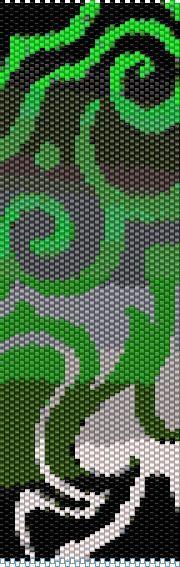 BPGS0001 Green Swirl Even Count Single Drop Peyote Cuff/Bracelet Pattern