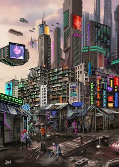 Cyberpunk concept art : Claypool City  Based in walled city of Kowloon, Hong Kong.