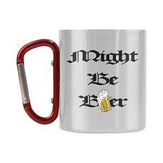 InterestPrint Sports  Outdoors Funny Might Be Beer Stainless Steel Water Tea Coffee Mug Carabiner Hiking Camping Cup for Cycling Traveling Fishing ClimbingSilver103 ozFunny Quote Saying ** Want to know more, click on the image.(This is an Amazon affiliate link and I receive a commission for the sales)