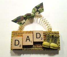Dad Hero Military Scrabble Tile Ornament by ScrabbleTileOrnament