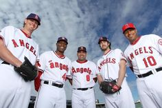 Jered Weaver, Torii Hunter, Kendrys Morales, Dan Haren and Vernon Wells Baseball Players, Football, Baseball Cards, Torii Hunter, Angels Baseball, Mike Trout, The Outfield, Best Player, Sports Logo