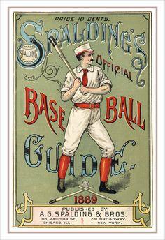 Baseball decor -Spaldings 1889 Baseball Guide print -13x19 - Vintage baseball print poster Baseball poster Boys room Man cave decor. $21.50, via Etsy.