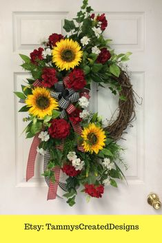 Summer Wreath - Sunflowers, small white flower, plaid ribbon, grape vine wreath