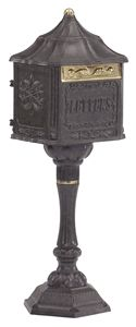 Oh Amco! I think they're one of my favorite mailbox manufacturers. The mailboxes are just so detailed, sturdy, and stunning. This is the Amco Colonial Pedestal Mailbox in Bronze, it is also a locking mailbox. It comes in other finishes, I will post more. Victorian Mailboxes, Antique Mailbox, Metal Mailbox, Wall Mount Mailbox, Dbz, Pedestal, Package Mailbox, Mailboxes For Sale, Traditional Mailboxes