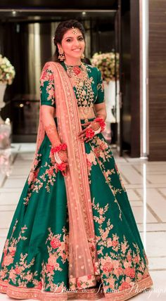 55 Bridal Lehenga designs that will inspire you - Wedandbeyond Indian Bridal Wear, Indian Wedding Outfits, Bridal Outfits, Indian Outfits, Bridal Dresses, Indian Engagement Outfit, Eid Outfits, Indian Bridal Lehenga, Eid Dresses