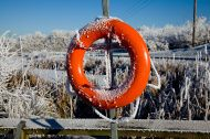 Frost on a Lifebuoy icey pond