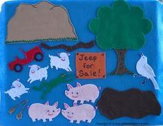 Sheep In A Jeep Flannel Board Felt Board by GlitterfulStories