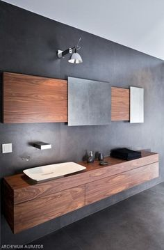 Love The Sleek, Minimalist Bathroom, Suspended Cabinet And Those Mirrors  Especially.