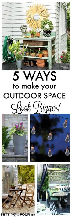 How to fake more space on your outdoor patio or deck! See these 5 instant diy decor tips to make your outdoor space look deceptively large at www.settingforfour.com
