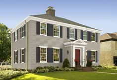 Sky Blue House White Trim Grey Blue Door Brown Roof Should The Trim Be Sky Blue Or Darker
