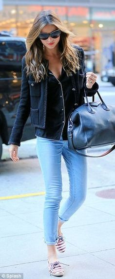 Tried and tested: Later on Miranda changed into another outfit, sticking to her usual style of skinny jeans and a fitted jacket