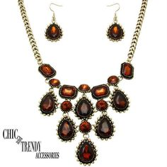 STUNNING VICTORIAN STYLE GOLD / BROWN CRYSTAL CHUNKY NECKLACE JEWELRY SET TRENDY #Unbranded