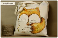 Cotton hand painted bag with Fox  long handle by Pookysworld, $12.00