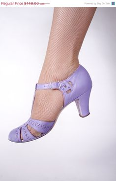 SPECIAL SALE 1930s Vintage Shoes Gorgeous Periwinkle by FabGabs, $118.40