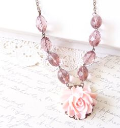 50 OFF  Rose Blossom  Beaded Flower Necklace  by NestingPretty, $14.00