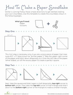 Winter Third Grade Paper Projects Worksheets: How To Make Snowflakes