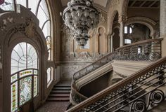 Art Nouveau style casino, located in Constanta, Romania on the Black Sea front. It is currently abandoned. Photographed by French photographer Romain Veillon. Abandoned Castles, Abandoned Mansions, Abandoned Buildings, Abandoned Places, Google Building, Constanta Romania, Art Nouveau, Art Deco, Casino Royale
