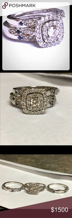 3 piece engagement/wedding ring 10 karat white gold engagement ring with two bands. It has blue sapphire stones and a clustered center.It was bought from Harris Jewelery a little over a year ago. Appraised retail price: $2,800. Jewelry Rings
