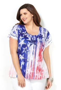 Stars and Stripes Sublimation Tee-Plus Size Tee-Avenue