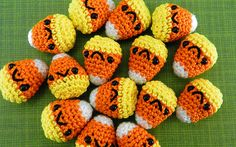 5 PIECE SET: Miniature Candy Corn - Amigurumi Plush for Halloween and Sweets Fans with Optional Key Chain or Phone Charm Attachments on Etsy, $17.32