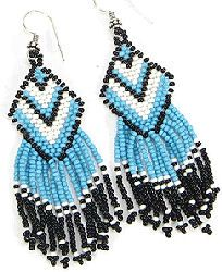 Native American Seed Bead Patterns | Native Crafts Wholesale : Turquoise Geometric Handcrafted Beaded ...