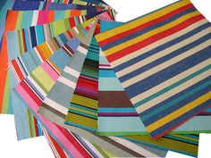 100% cotton fabric squares for patchwork, quilting and craft projects - Deck Chair Stripes - Seaside colours