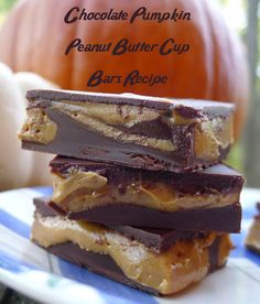 Chocolate Pumpkin Peanut Butter Cup Bars Recipe with Jif Whipped Peanut Butter and Pumpkin Pie Spice Flavored Spread - Akron Ohio Moms @jifpeanutbutter sponsored