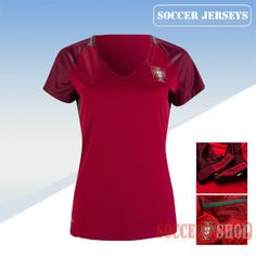 Nice Fitted Portugal Red 2016/17 Home Womens Soccer Jersey Clearance From China