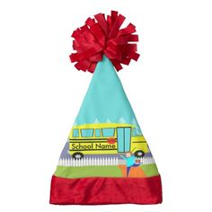 Customizable Catching the School Bus Santa Hat--#Santa #Christmas #school #teacher #schoolbus #Zazzle