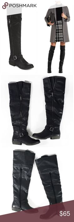 "NEW Black Over the Knee Boots Every woman needs a great pair of tall boots, and these will give you a modern style with no shortage of comfort. synthetic upper 1"" heel. Shaft is approximately 21"" tall. New without box.  Working interior side zipper (exterior Zipper is for looks) buckle round toe thermoplastic rubber sole 🌺 Shoes Over the Knee Boots"