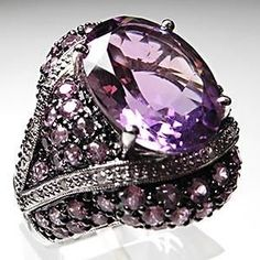Natural Amethyst & Diamond Cocktail Ring Solid 14k White Gold.