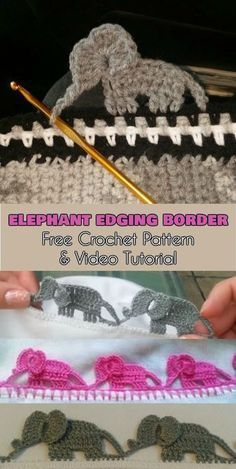 Elephant Edging Border [Free Crochet Pattern and Video Tutor. toys tutorial Elephant Edging Border [Free Crochet Pattern and Video Tutor… - Baby Crochet Boarders, Crochet Flower Patterns, Crochet Flowers, Knitting Patterns, Crochet Elephant Pattern Free, Crochet Ideas, Elephant Applique, Loom Patterns, Baby Elephant