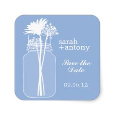 Blue Mason Jar and Flowers Wedding Square Stickers