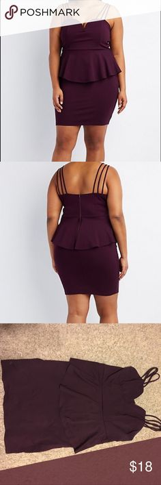 Plus Size Peplum Dress Selling this gorgeous and flattering peplum dress! It is a deep purple and is super cute! Size 2X & from Charlotte Russe. Worn once to a banquet. Any questions or additional pics needed let me know! Does have some stretch & a zip up back. Charlotte Russe Dresses