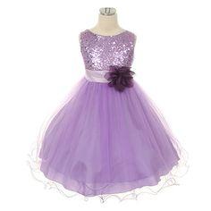 Lilac Glitter Sheen Girl's Party Dress