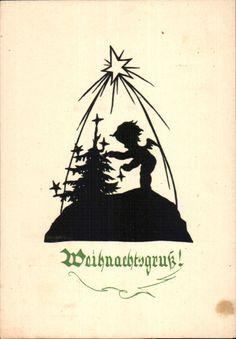 4080 Scherenschnitt - Postkarte 1949 - Weihnachten